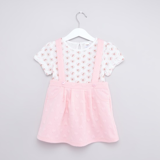 Floral Print Round Neck T-shirt and Solid Pinafore Skirt Set