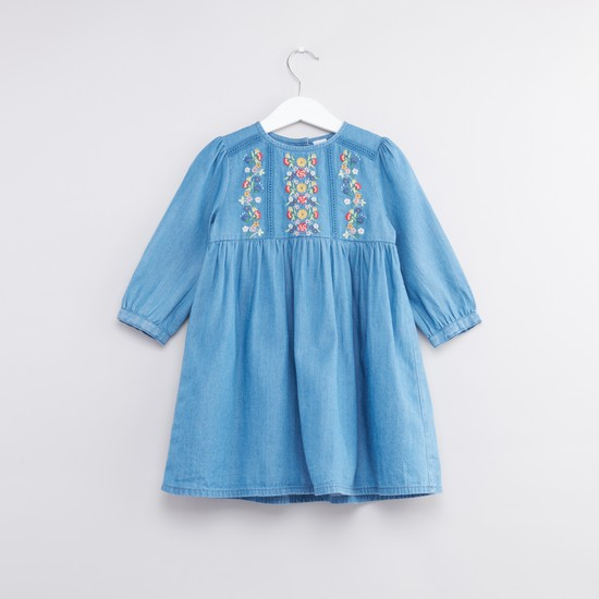 Floral Embroidered Denim Dress with Long Sleeves