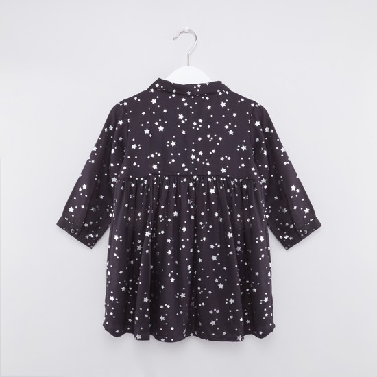 Printed Dress with Long Sleeves