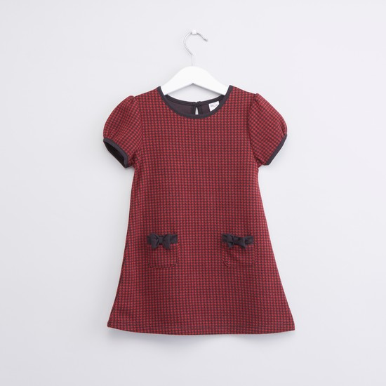Textured Dress with Round Neck and Bow Applique Detail