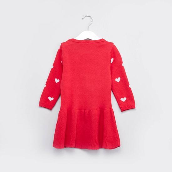 طقم كنزة فستان بطبعات وجوارب بطول الركبة
