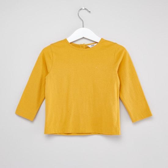 Plain Round Neck T-shirt with Printed Sleeveless Dress