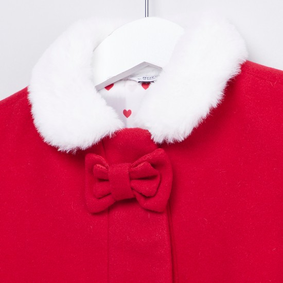 Textured Coat with Long Sleeves and Bow Applique Detail
