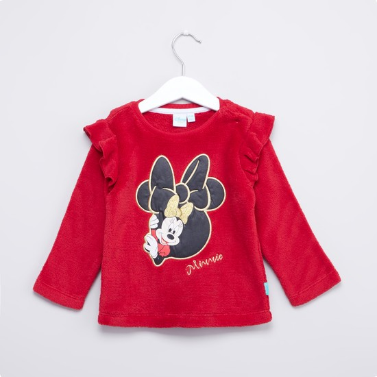 Minnie Mouse Embroidered Sweat Top with Long Sleeves