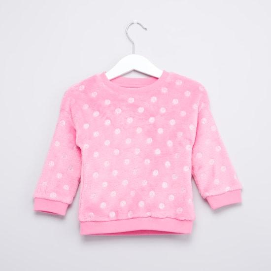 Polka Dot Printed Sweat Top with Long Sleeves