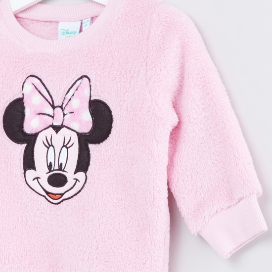 Minnie Mouse Embroidered Plush Round Neck Long Sleeves Sweater