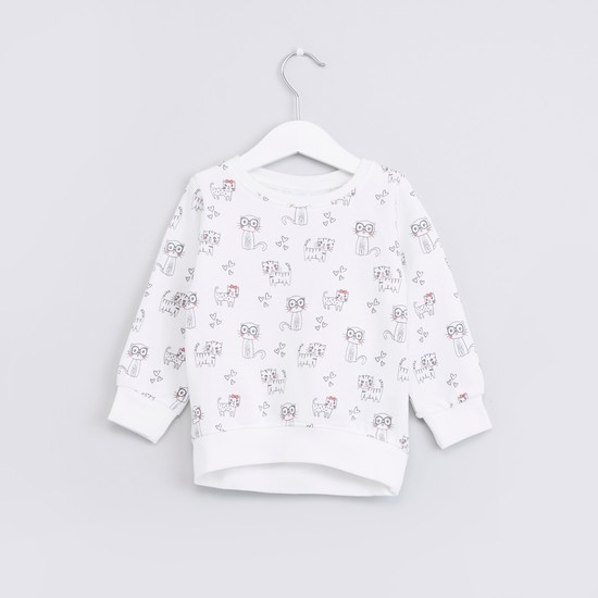 Printed Round Neck Long Sleeves Sweat Top