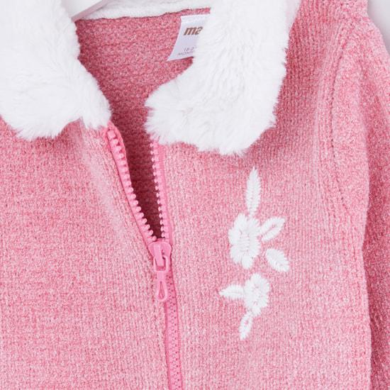 Textured Long Sleeves Plush Detail Cardigan