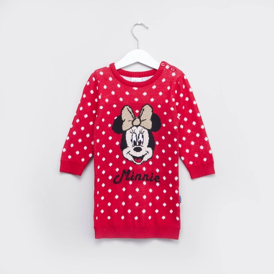 Minnie Mouse Printed Sweater Dress and Knee Length Stockings