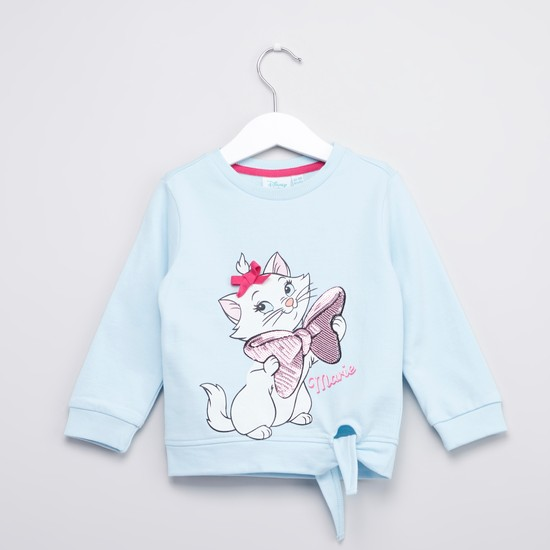 Marie Printed Sweatshirt with Round Neck and Long Sleeves