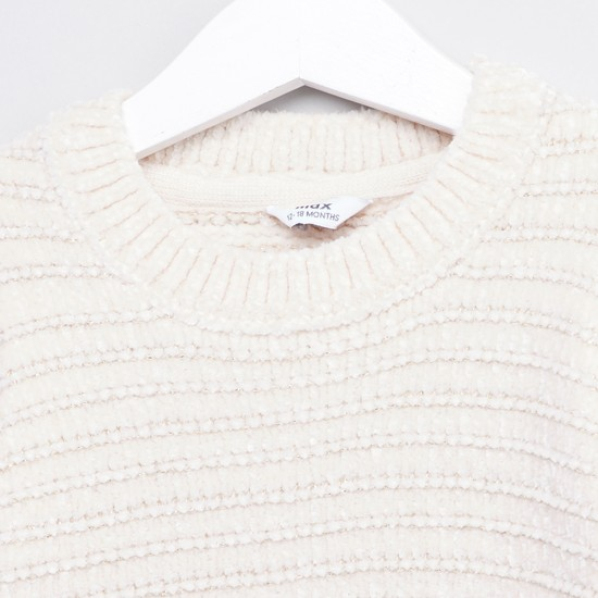 Ribbed Sweater with Round Neck and Long Sleeves