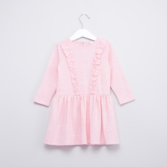 Textured Dress with Round Neck and Frill Detail