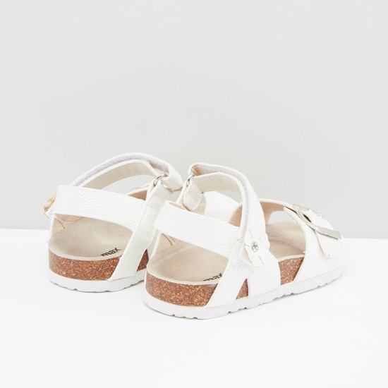 Metallic Sandals with Hook and Loop Closure