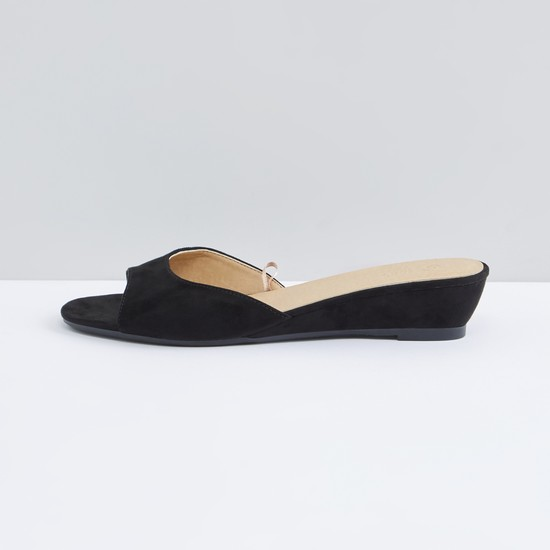 Peep-Toe Slip-On Sandals