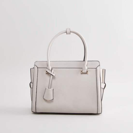 Plain Handbag with Zip Closure and Detachable Strap