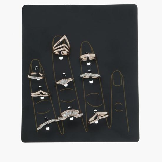 Crystal Studded Rings Set