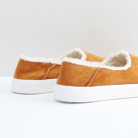 Textured Slip-On Shoes with Plush Detail