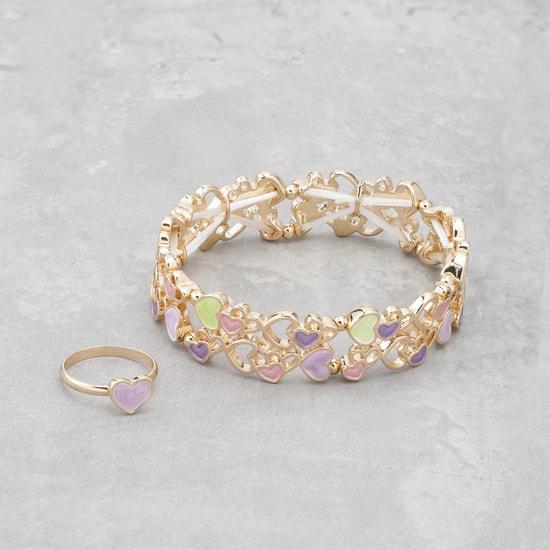 Enamelled Heart Bracelet and Ring Set