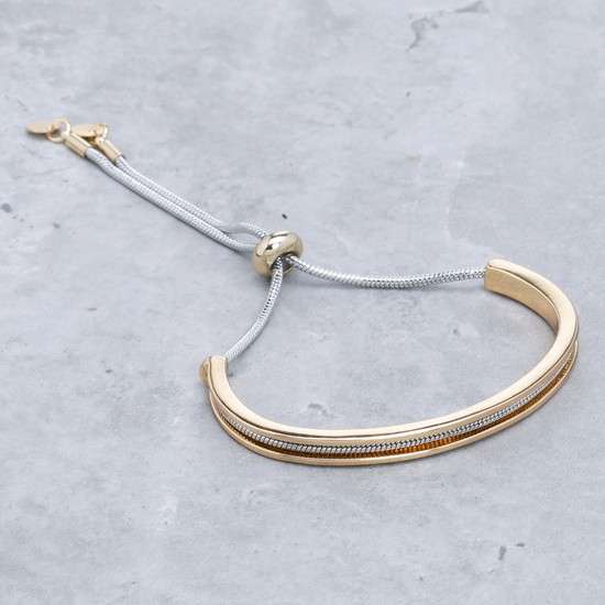 Metallic Bracelet with Drawstring Closure