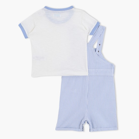 Striped Dungarees and Short Sleeves T-Shirt