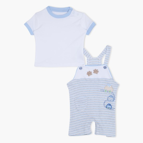 Printed Dungaree and T-Shirt Set