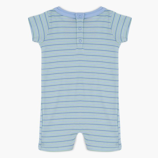 Striped Playsuit with Peter Pan Collar and Short Sleeves