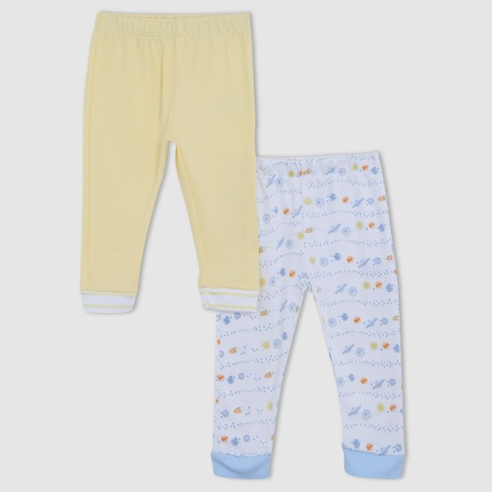 Printed Pants with Elasticised Waistband - Set of 2