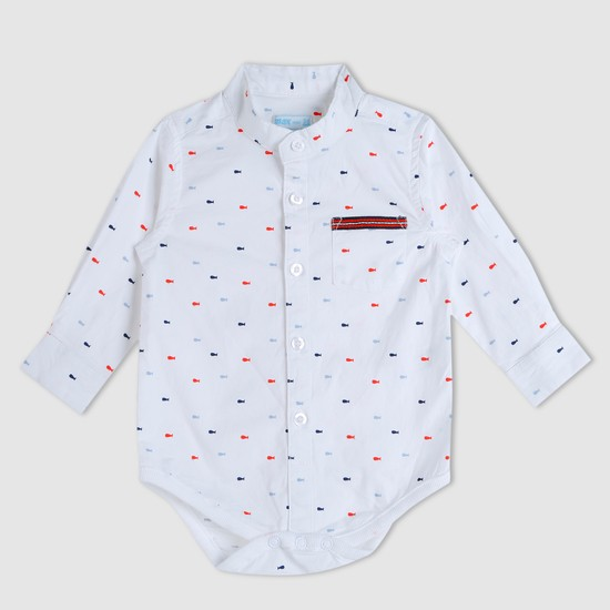 Printed Mandarin Collar Bodysuit