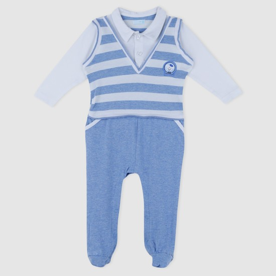 Striped Long Sleeves Mock Layer Sleepsuit