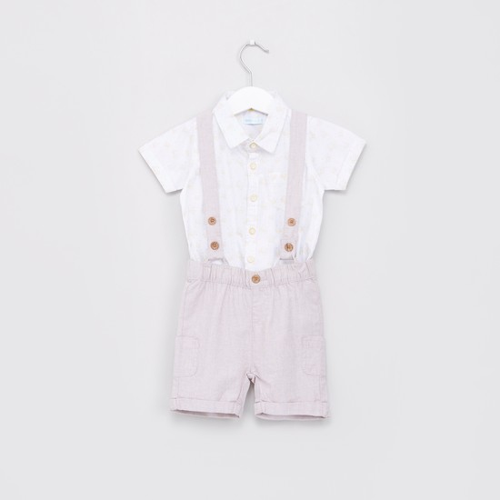 Printed Shirt with Suspender Style Shorts