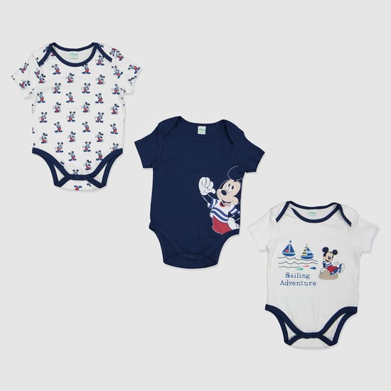 Mickey Mouse Print Bodysuit - Set of 3