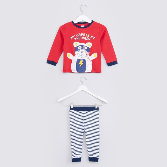 Printed T-Shirt with Striped Jog Pants