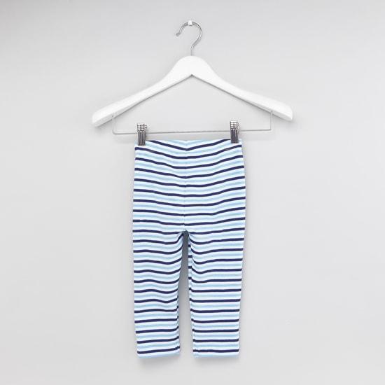 Mickey Mouse Printed T-shirt and Striped Pyjama Set