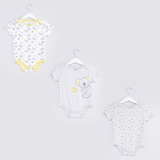 Printed Short Sleeves Bodysuit - Set of 3