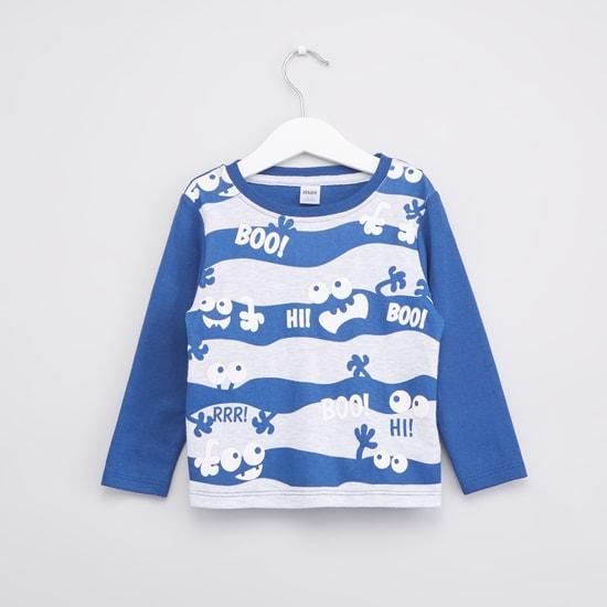 Stripe Monster Printed T-shirt and Pyjama with Elasticated Waistband