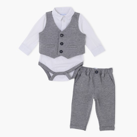 Long Sleeves Bodysuit with Waistcoat and Pants