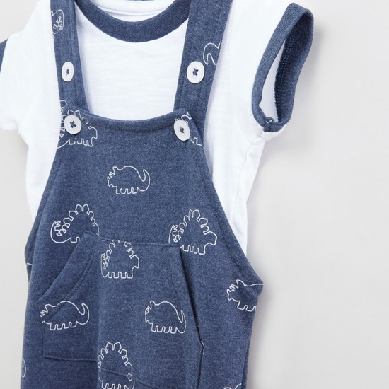 Round Neck T-Shirt with Printed Dungarees