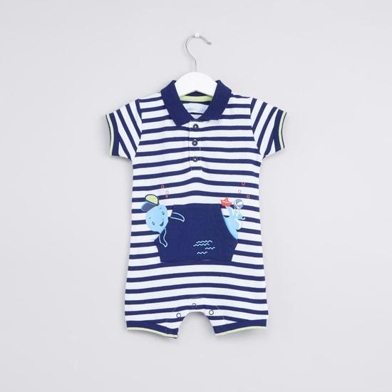 Striped Pocket Detail Short Sleeves Romper