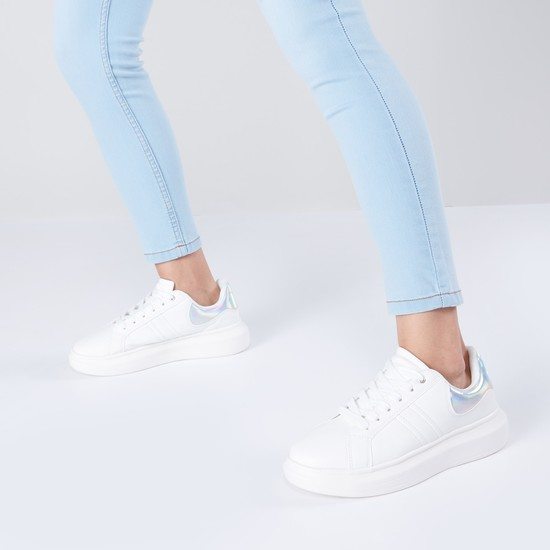 Lace-Up Shoes with Patchwork Detail