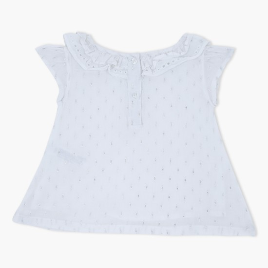 Cap Sleeves Top with Layered Collar