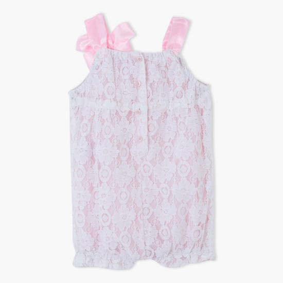 Lace Romper with Bow Applique