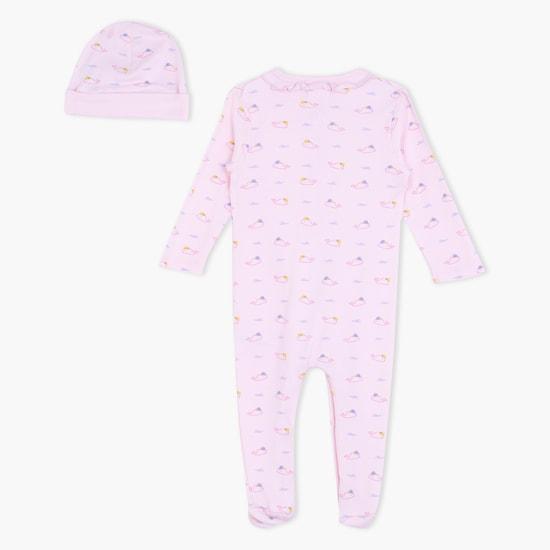 Printed Sleepsuit and Cap Set