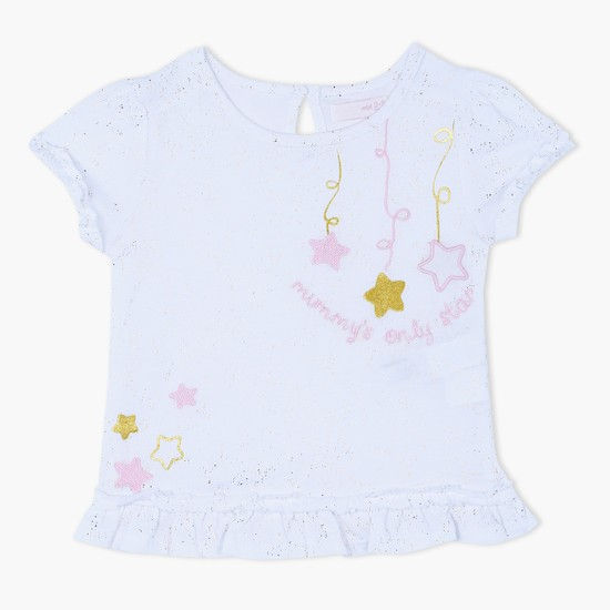 Short Sleeves T-Shirt with Embroidered Stars