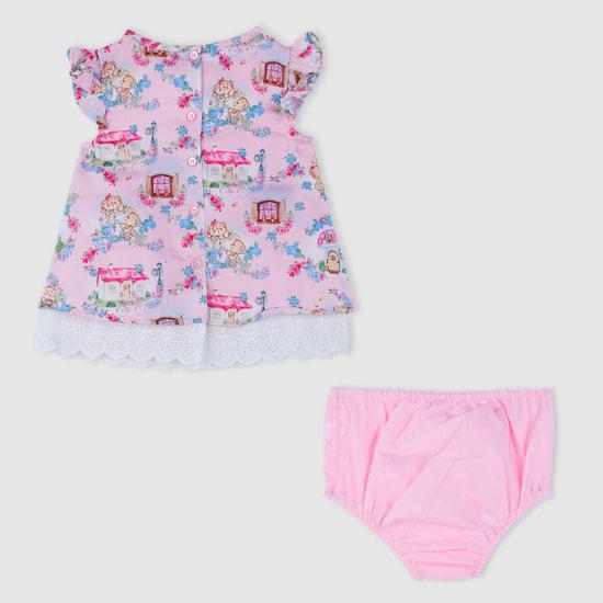 Bear Print Dress and Bloomer Set