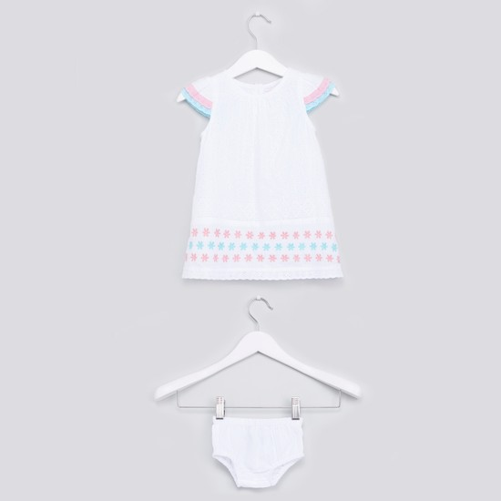 Embroidered Schiffli Dress and Bloomer Set