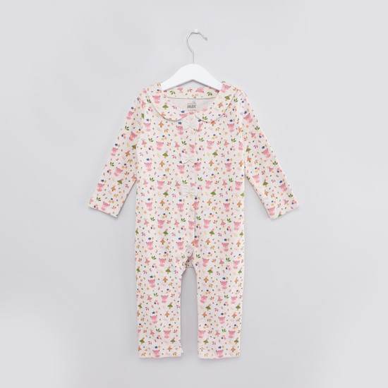 Printed Sleepsuit with Long Sleeves and Beanie Cap