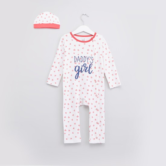 Printed Sleepsuit with Long Sleeves and Cap