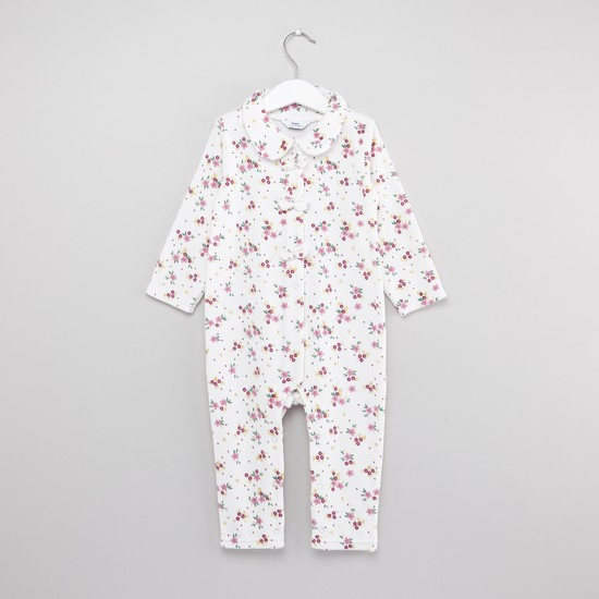 Printed Sleepsuit with Knot Detail and Cap