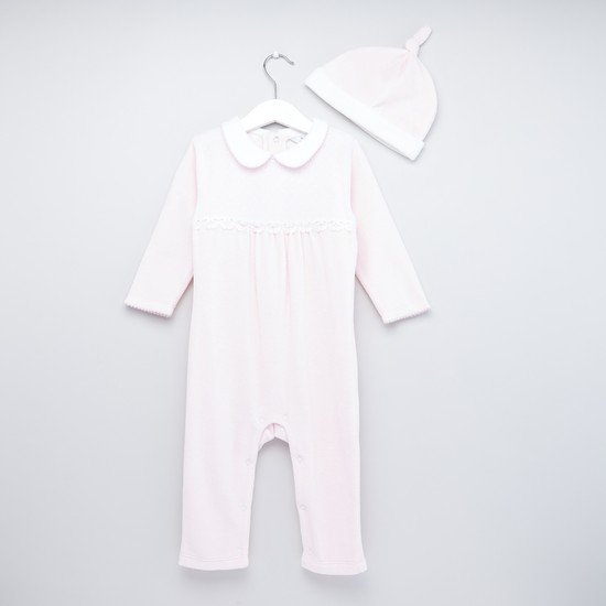 Lace Panel Sleepsuit with Long Sleeves and Cap