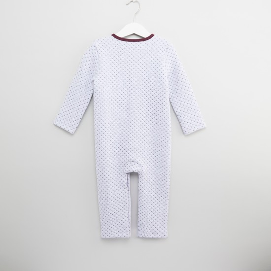 Printed Quilted Sleepsuit with Long Sleeves and Cap